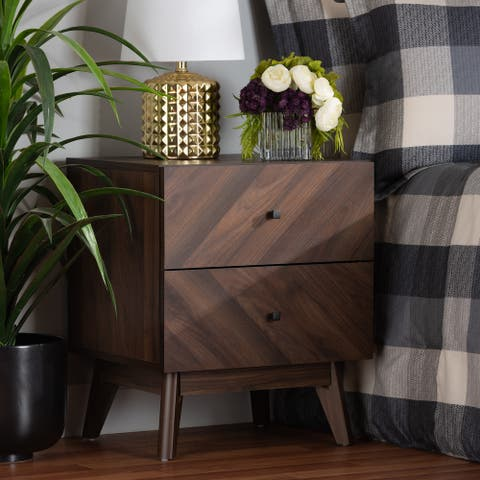 Hartman Mid-Century Modern Walnut Finished Wood 2-Drawer Nightstand