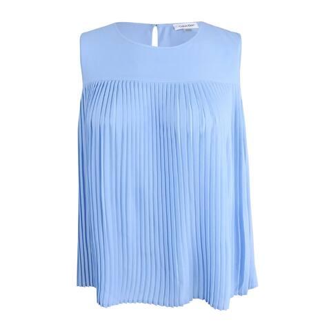 Calvin Klein Women's Sleeveless Pleated Top - Light Blue - L