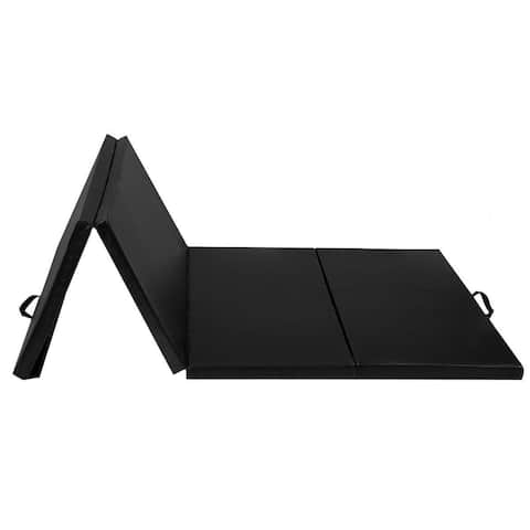 "4'x10'x2"" Thick Folding Panel Gymnastics Mat-Black"