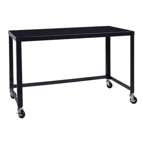 Carbon Loft Laennec Black Steel Industrial Rolling Desk