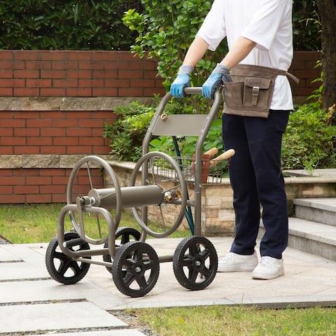 "Glitzhome 36""H Steel Gray 4-Wheel Garden Hose Reel Cart"