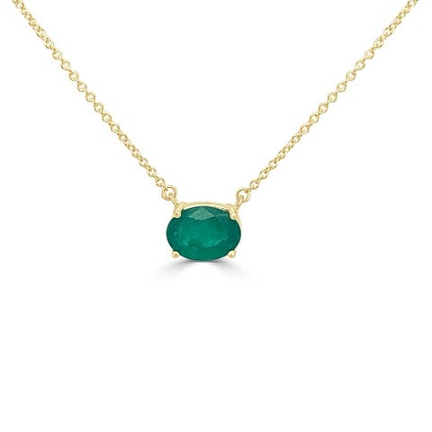 """Joelle Emerald Oval Necklace 14K Yellow Gold 16""""-18"""""""