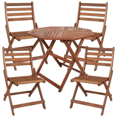Sunnydaze 5-Piece Meranti Wood Octagon Dining Table with Folding Chairs