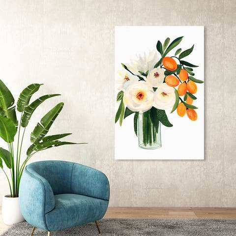 Oliver Gal 'Summer Time Bouquet Tall' Floral and Botanical Wall Art Canvas Print Florals - Green, White