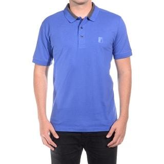 Versace Men Medusa Logo Solid Cotton Colar Trim Polo Shirt Blue