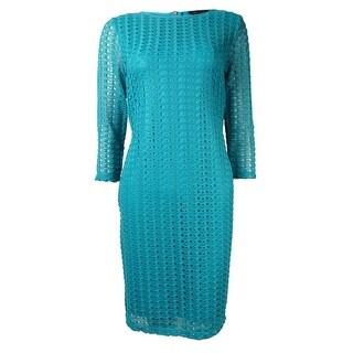 Spense Women's 3/4 Sleeves Lace Overlay Sheath Dress