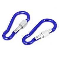 Unique Bargains 2PCS Travel Aluminum Screw Lock Spring Loaded Carabiner Hook Blue 5cm Long