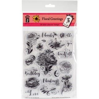 "Hot Off The Press Acrylic Stamps 6""X8""-Floral Greetings"