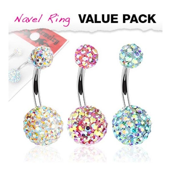 3 Pcs Pack of Assorted Aurora Borealis Crystal Ferido Stainless Steel Navel Belly Button Ring