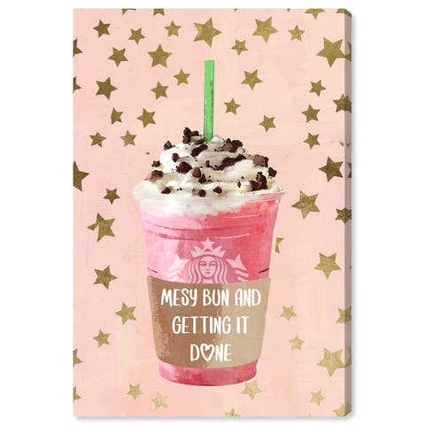 Oliver Gal 'Star Bright Drink' Glam Pink Wall Art Canvas Print