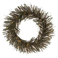 "30"" Pre-Lit Vienna Twig Artificial Christmas Wreath - Clear Lights - brown"