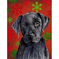 11 x 15 in. Labrador Red and Green Snowflakes Holiday Christmas