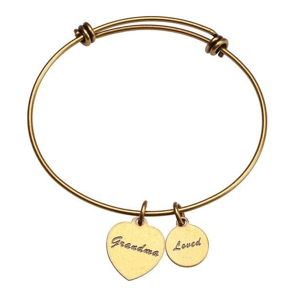 Women's Friends and Family Brass Bangle Bracelet - Grandma - Gold