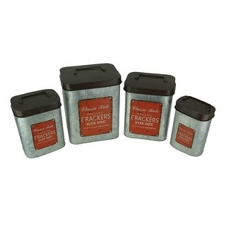 Set of 4 Vintage Look Galvanized Metal Kitchen Canisters - 10.25 X 8 X 6 inches