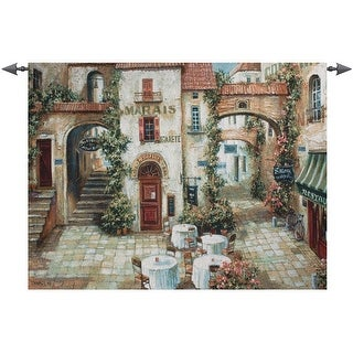 """Le Marais Paris France Outdoor Cafe Cotton Wall Art Hanging Tapestry 35"""" x 53"""" - N/A"""