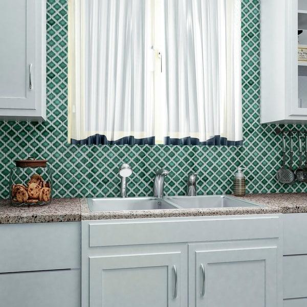 "SomerTile Hudson Tangier Emerald 12.38"" x 12.5"" Porcelain Mosaic Tile. Opens flyout."