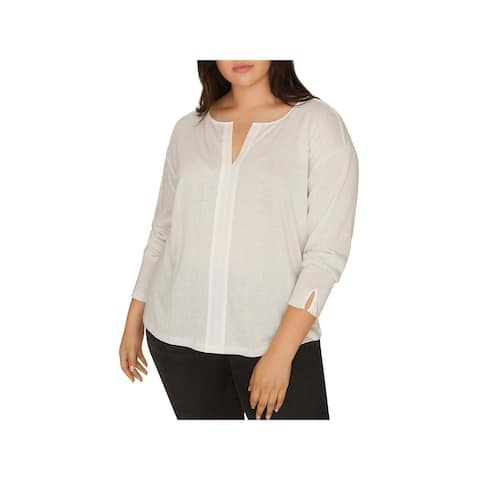 Sanctuary Womens Plus Sienna Blouse Metallic Business