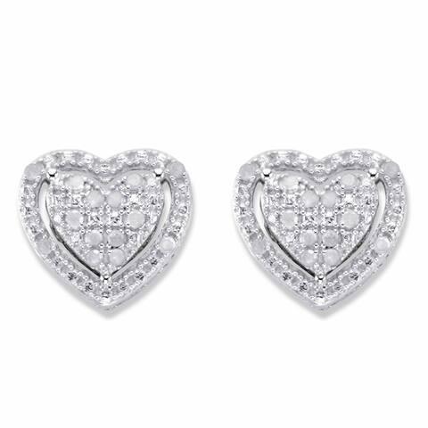 Platinum over Sterling Silver Genuine Diamond Heart Stud Earrings