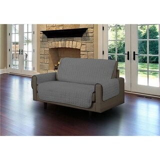 Linen Store Quilted Micro Suede Love Seat Pet Protector, Gray
