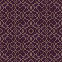 York Wallcoverings WP2499 Waverly Small Prints Lovely Lattice Wallpaper - deep plum/shining gold - N/A