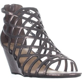 MG35 Henie Caged Wedge Sandals, Pewter