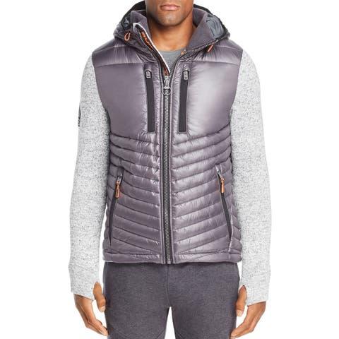 Superdry Mens Jacket Gray Size XL Storm Hybrid Long Sleeve Full Zip