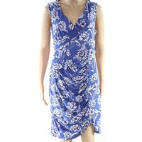 INC Blue Womens Size Medium M Floral Print Ruched Sheath Dress