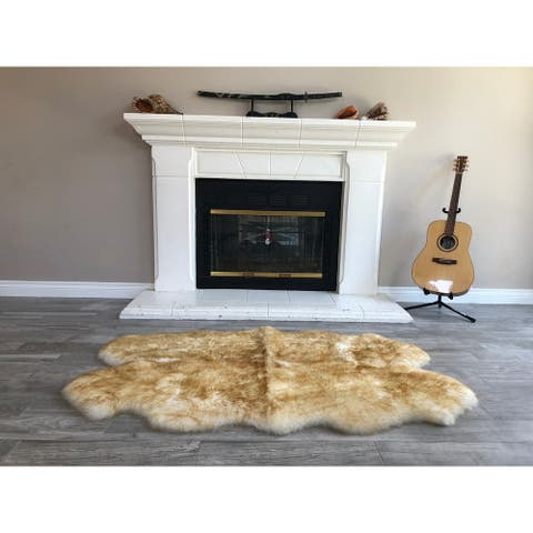 "Dynasty Natural 4-Pelt Luxury Long Wool Sheepskin White with Brown Tips Shag Rug - 3'6"" x 5'6"""