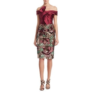Marchesa Notte Sequined Off The Shoulder Satin Bow Cocktail Dress Wine - 10
