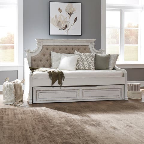 Magnolia Manor Antique White Twin Trundle Bed