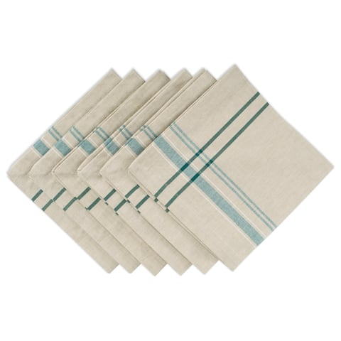 "Set of 6 Beige and Teal Blue French Stripe Pattern Over Sized Napkins 20"" - N/A"