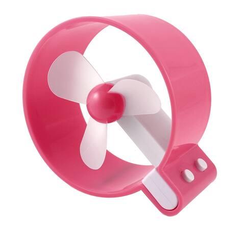 Travel Camping Watermelon Red White Round 3 Soft Plastic Blades Mini Porket Fan