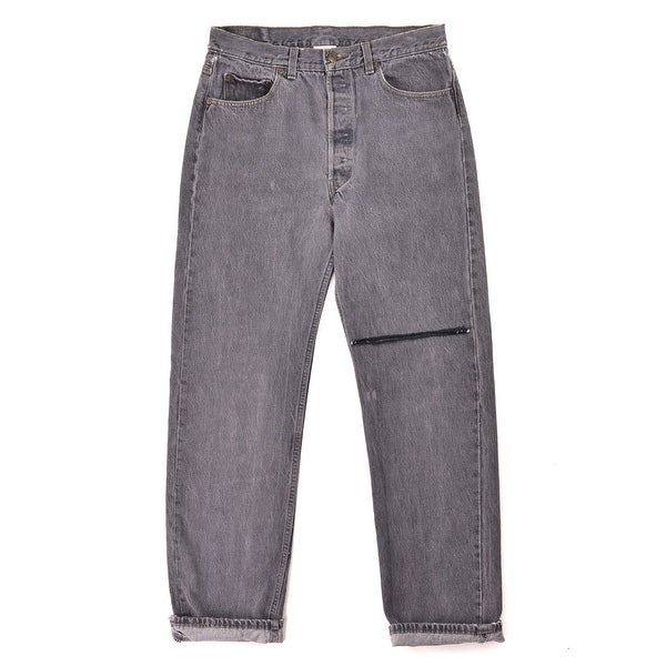 7fbe619c0c33 Shop Vetements Mens Grey Cotton Logo Cut Denim Jeans - S - Free ...