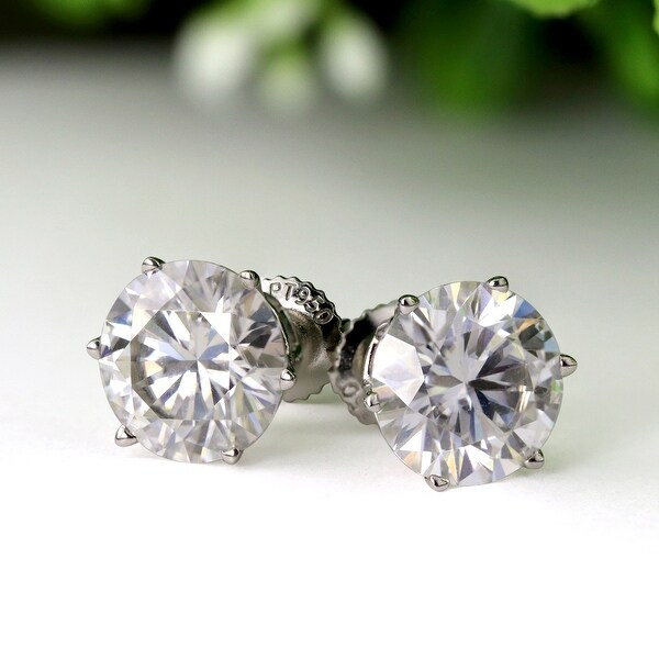 Auriya 2ctw Round Moissanite Stud Earrings 14k Gold - 6.5 mm. Opens flyout.