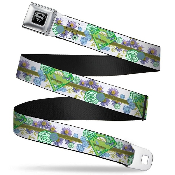 Superman Black Silver Super Shield Floral Design White Greens Webbing Seatbelt Belt