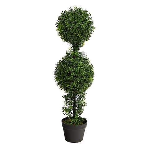 """34"""" Boxwood Double Ball Topiary Artificial Tree (Indoor/Outdoor) - 6"""""""