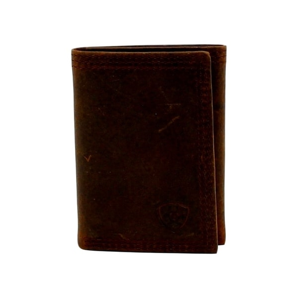 Ariat Western Wallet Mens Trifold Distressed Rowdy Brown - One size