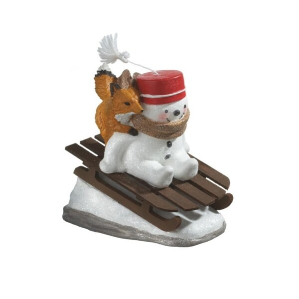 8 Snowman Riding Wooden Sled With Fox Christmas Table Top Figure Na