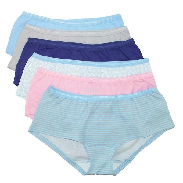 Fruit of the Loom Women's Cotton Boyshort Underwear (6 Pack) - Multi