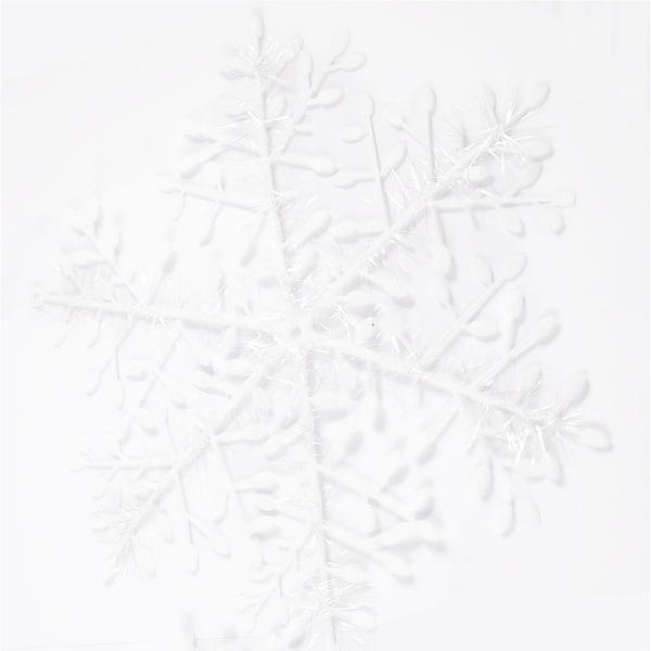 Unique Bargains 3 Pcs Glittery White Snow Flower Xmas Christmas Tree Hanger Decoration Ornament