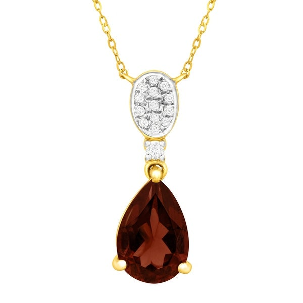 2 1/5 ct Natural Garnet Necklace with Diamonds in 10K Gold - Red