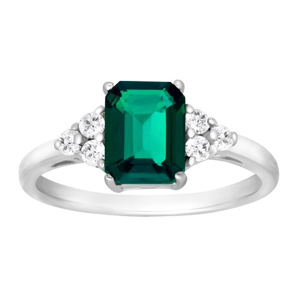 1 5/8 ct Created Emerald & White Topaz Ring in Sterling Silver - Green