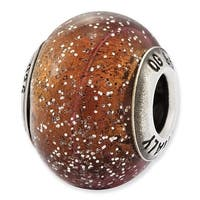 Italian Sterling Silver Reflections Light Brown with Silver Glitter Glass Bead