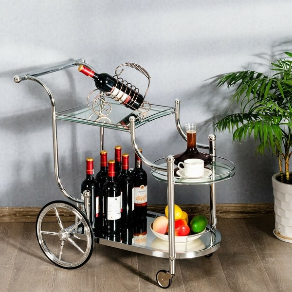 Shop Gymax Serving Cart Kitchen Bar Wine Tea Cart Glass ...