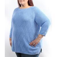 Womens Light Blue 3/4 Sleeve Jewel Neck Casual Sweater  Size  XL