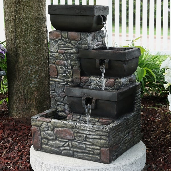 Sunnydaze 4 Tier Square Bowls Outdoor Water Fountain With Led Lights 22 Inch