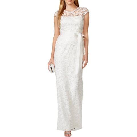 Adrianna Papell Womens Evening Dress Crochet Prom