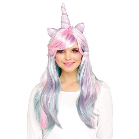 Adult Pastel Unicorn Horn Costume Wig - Standard - One Size