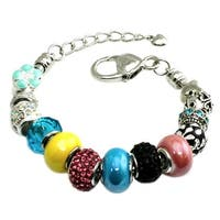 Multi-color Summer Colors Beaded Charms Metal Alloy Bracelet - 7 inches
