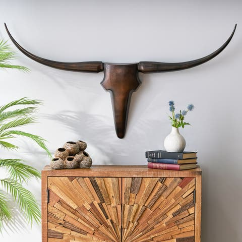 Lanier Indoor Aluminum Handcrafted Bull Wall Decor by Christopher Knight Home
